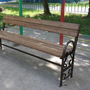 Скамейка парковая деревянная со спинкой и подлокотниками